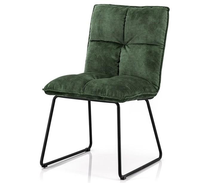 2 x Spisebordsstole i polyester og metal H89 x B49 x D60 cm – Grøn