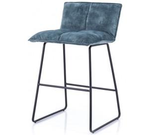 2 x Barstole i polyester og metal H87 x B43 x D47 cm - Blå