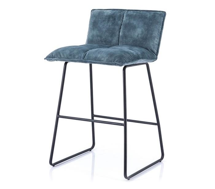 2 x Barstole i polyester og metal H87 x B43 x D47 cm – Blå