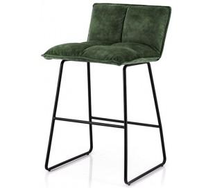 2 x Barstole i polyester og metal H87 x B43 x D47 cm - Grøn