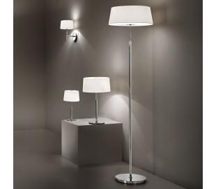 HILTON Gulvlampe i metal og tekstil H160 cm 2 x E14 - Krom/Hvid