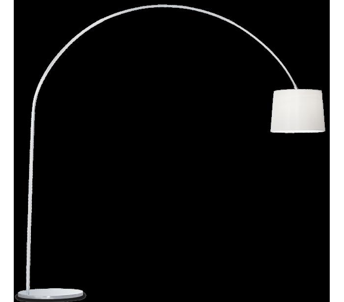 Image of   DORSALE Gulvlampe i metal og tekstil H228 cm 1 x E27 - Krom/Hvid