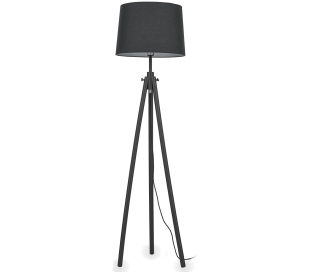 YORK Gulvlampe i træ og tekstil H164 cm 1 x E27 - Sort