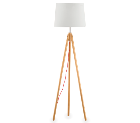 YORK Gulvlampe i træ og tekstil H164 cm 1 x E27 - Natur/Hvid