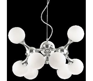 NODI Lysekrone i glas og metal Ø80 cm 9 x E14 - Krom/Hvid