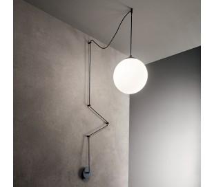 BOA Loftlampe i glas og metal Ø30 cm 1 x E27 - Mat sort/Hvid