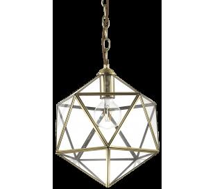 DECA Loftlampe i glas og metal Ø28 cm 1 x E27 - Klar/Antik messing