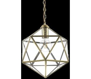 DECA Loftlampe i glas og metal Ø50 cm 1 x E27 - Klar/Antik messing
