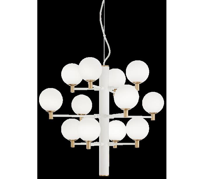 Image of   COPERNICO Lysekrone i metal og glas Ø71 cm 12 x G9 - Hvid/Messing