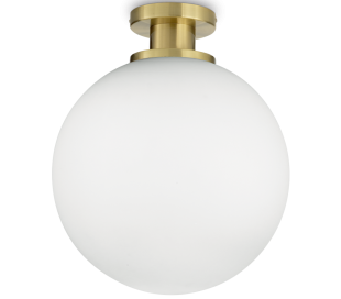 LOKO Loftlampe i glas og metal Ø40 cm 1 x E27 - Satineret messing/Hvid