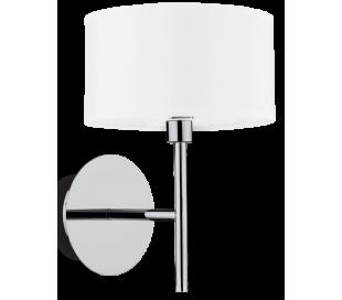 WOODY Væglampe i metal og tekstil H18 cm 1 x G9 - Krom/Hvid