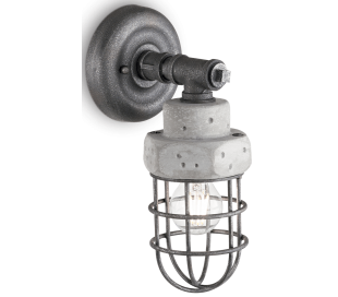 TNT Væglampe i metal og beton H31 cm 1 x E27 - Antik jerngrå/Grå