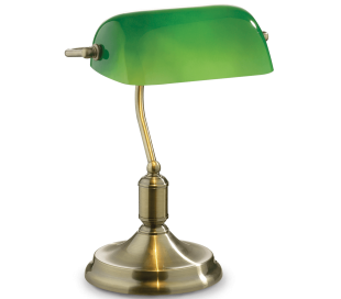 LAWYER Bordlampe i metal og glas H38 cm 1 x E27 - Antik messing/Grøn