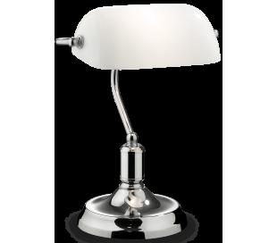 LAWYER Bordlampe i metal og glas H38 cm 1 x E27 - Krom/Hvid