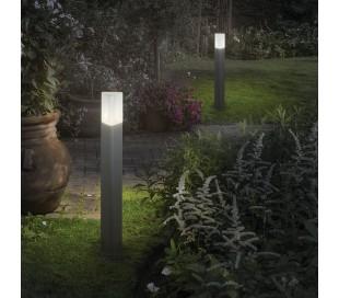 PULSAR Bedlampe i aluminium og polycarbonat H80 cm 1 x E27 - Grå/Hvid