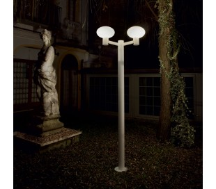 ARMONY Dobbelt Bedlampe i aluminium og plast H215 cm 2 x E27 - Hvid/Hvid