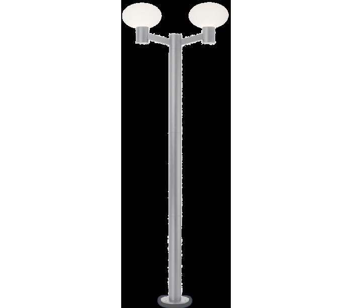 Image of   ARMONY Dobbelt Bedlampe i aluminium og plast H215 cm 2 x E27 - Grå/Hvid