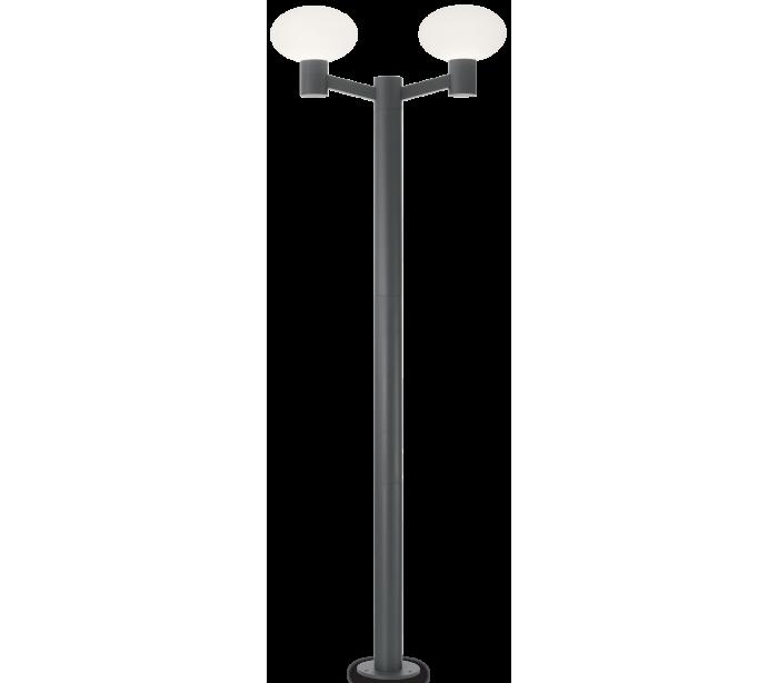 Image of   ARMONY Dobbelt Bedlampe i aluminium og plast H215 cm 2 x E27 - Antracit/Hvid