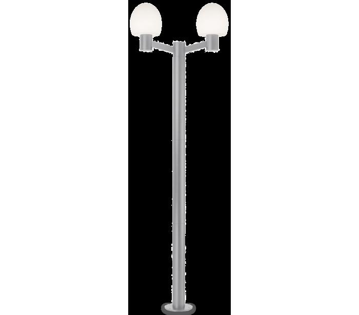Image of   CONCERTO Dobbelt Bedlampe i aluminium og plast H220,5 cm 2 x E27 - Grå/Hvid