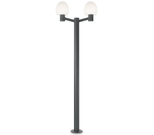 CONCERTO Dobbelt Bedlampe i aluminium og plast H220,5 cm 2 x E27 - Antracit/Hvid