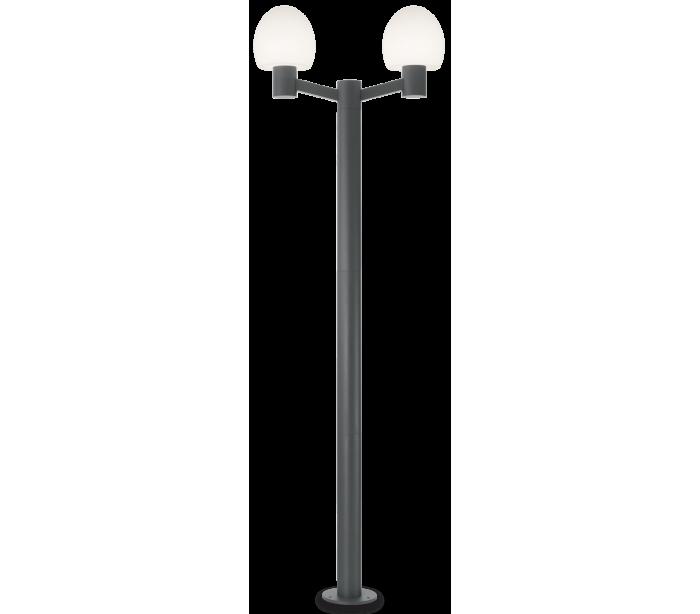 Image of   CONCERTO Dobbelt Bedlampe i aluminium og plast H220,5 cm 2 x E27 - Antracit/Hvid