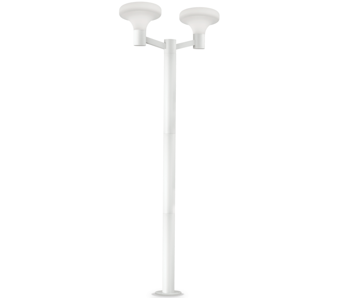 ideal lux - fumagalli – Sound dobbelt bedlampe i aluminium og plast h217 cm 2 x e27 - hvid/hvid på lepong.dk