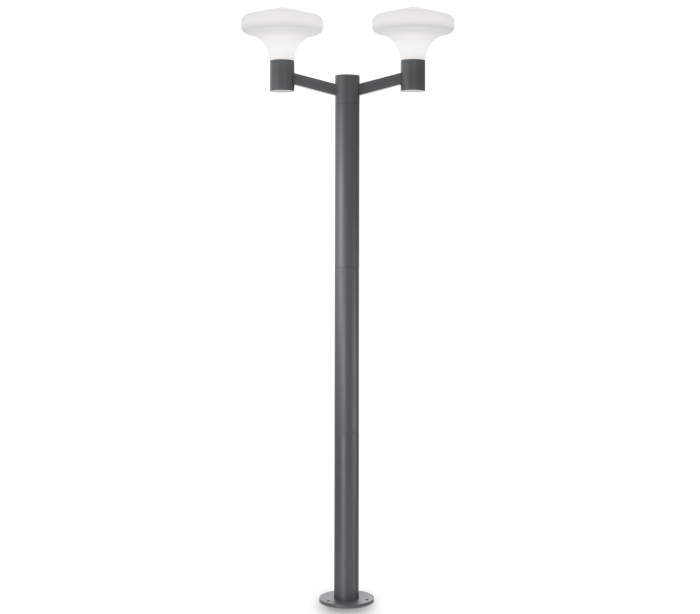 ideal lux - fumagalli Sound dobbelt bedlampe i aluminium og plast h217 cm 2 x e27 - antracit/hvid på lepong.dk