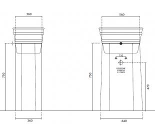 Understativ til Tinozza håndvask H75 cm - Mat sort
