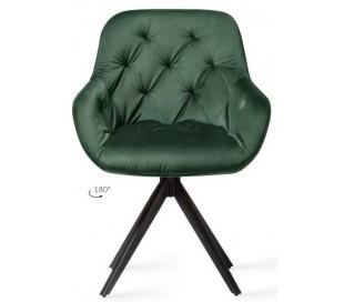 2 x Tara Rotérbare Spisebordsstole H84 cm velour - Sort/Junglegrøn