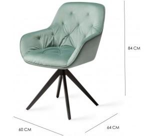 2 x Tara Rotérbare Spisebordsstole H84 cm velour - Sort/Jadegrøn
