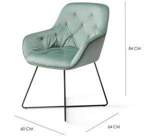 2 x Tara Spisebordsstole H84 cm velour - Sort/Jadegrøn