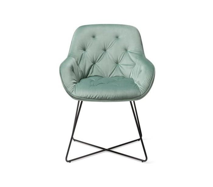 last deco 2 x tara spisebordsstole h84 cm velour - sort/jadegrøn på lepong.dk