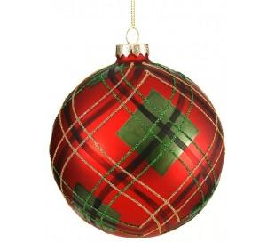 Julekugle i glas Ø12 cm - Rød tartan