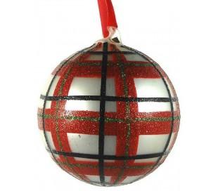 Julekugle i glas Ø10 cm - Rød/Hvid tartan