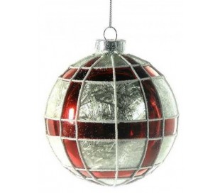 Julekugle i glas Ø10 cm - Rød/Frostet hvid tartan