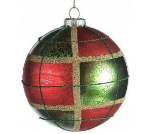Julekugle i glas Ø10 cm - Rød/grøn tartan