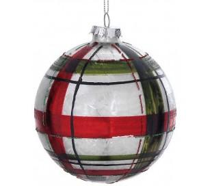 Julekugle i glas Ø10 cm - Rød/Frostet sølv tartan
