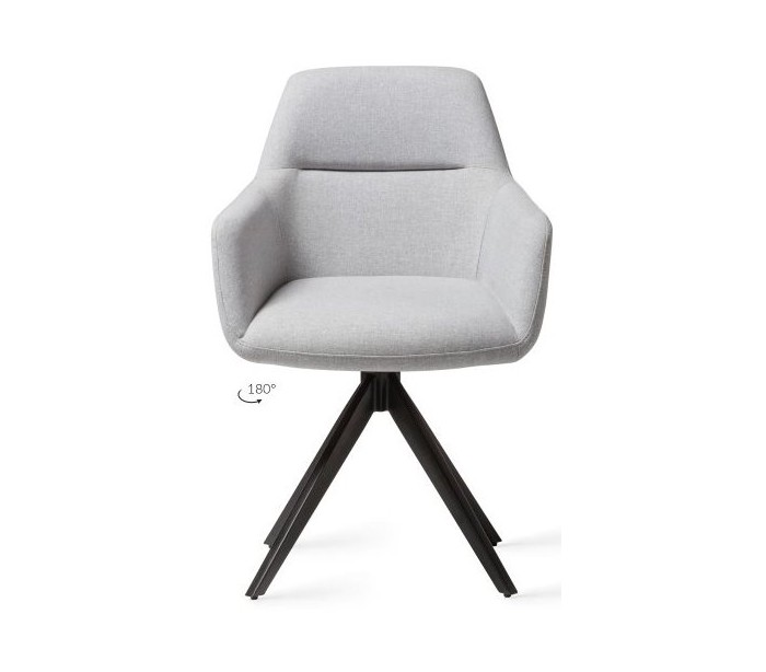 2 x Kinko Rotérbare Spisebordsstole H84 cm polyester – Sort/Grå fra Jesper Home