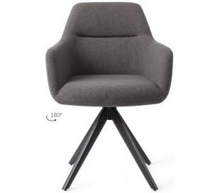 2 x Kinko Rotérbare Spisebordsstole H84 cm polyester - Sort/Mørkegrå