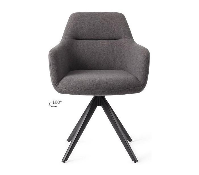 2 x Kinko Rotérbare Spisebordsstole H84 cm polyester – Sort/Mørkegrå fra Jesper Home