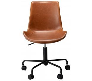 Hype kontorstol i kunstlæder H78-90 cm - Vintage lysebrun