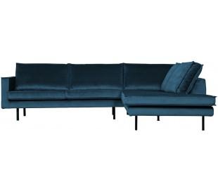 Hjørnesofa højrevendt i velour 266 x 213 cm - Blå