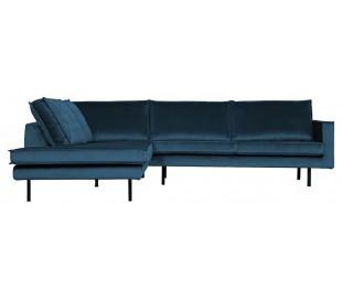 Hjørnesofa venstrevendt i velour 266 x 213 cm - Blå