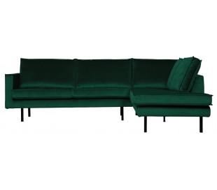 Hjørnesofa højrevendt i velour 266 x 213 cm - Grøn