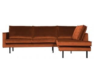 Hjørnesofa højrevendt i velour 266 x 213 cm - Rust