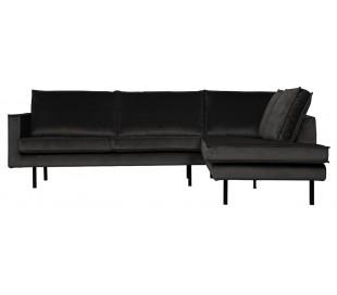Hjørnesofa højrevendt i velour 266 x 213 cm - Antracit