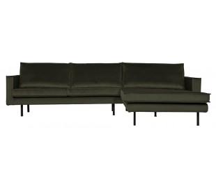Sofa med højrevendt chaiselong i velour 300 x 155 cm - Mørkegrøn