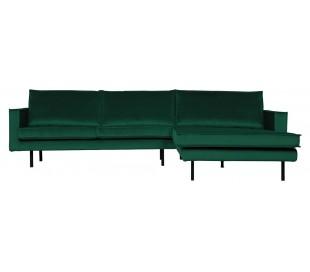 Sofa med højrevendt chaiselong i velour 300 x 155 cm - Grøn