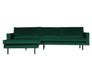 Sofa med venstrevendt chaiselong i velour 300 x 155 cm - Grøn