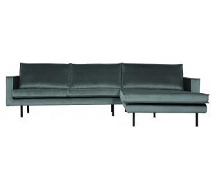 Sofa med højrevendt chaiselong i velour 300 x 155 cm - Teal